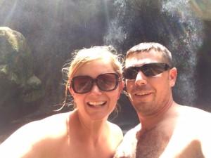 cal & i at waterfall